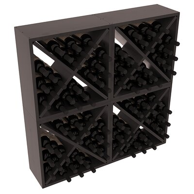 Karnes Pine Rustic Cube 96 Bottle Floor Wine Rack Finish: Black Satin