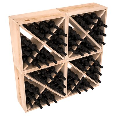 Karnes Pine Rustic Cube 96 Bottle Floor Wine Rack Finish: Natural