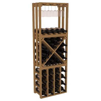 Karnes Pine Lattice Stacking Cube 45 Bottle Floor Wine Rack Finish: Oak