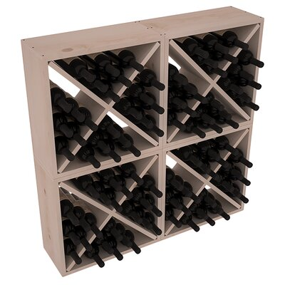 Karnes Pine Rustic Cube 96 Bottle Floor Wine Rack Finish: Gray