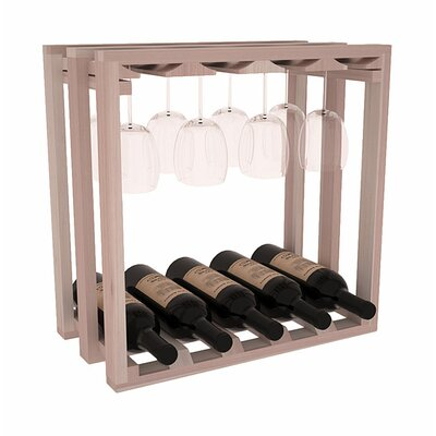 Karnes Redwood Lattice Stemware Cube 10 Bottle Tabletop Wine Rack Finish: Gray