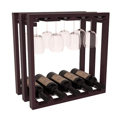 Karnes Redwood Lattice Stemware Cube 10 Bottle Tabletop Wine Rack Finish: Burgundy Satin