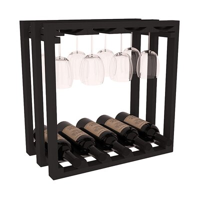 Karnes Pine Lattice Stemware Cube 10 Bottle Tabletop Wine Rack Finish: Black