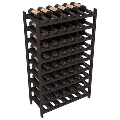 Karnes Pine Stackable 54 Bottle Floor Wine Rack Finish: Black