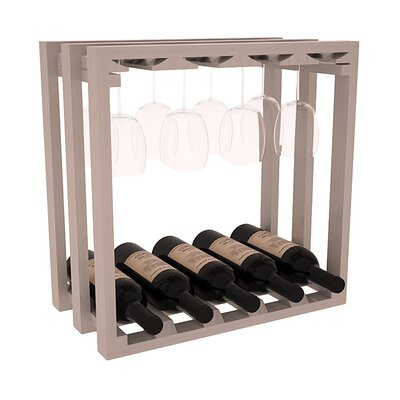 Karnes Pine Lattice Stemware Cube 10 Bottle Tabletop Wine Rack Finish: Gray Satin
