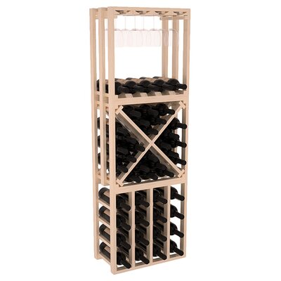 Karnes Pine Lattice Stacking Cube 45 Bottle Floor Wine Rack Finish: Natural Satin