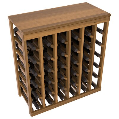 Karnes Redwood Table Top 36 Bottle Floor Wine Rack Finish: Oak Satin