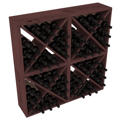 Karnes Pine Rustic Cube 96 Bottle Floor Wine Rack Finish: Walnut