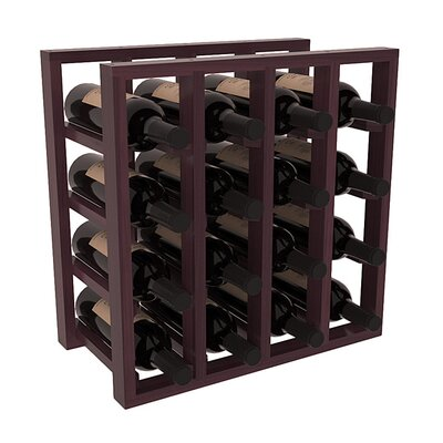 Karnes Redwood Lattice 16 Bottle Tabletop Wine Rack Finish: Burgundy Satin