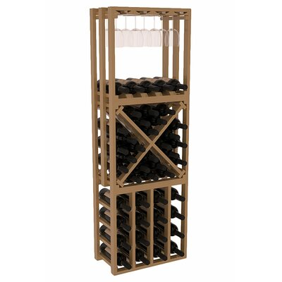 Karnes Pine Lattice Stacking Cube 45 Bottle Floor Wine Rack Finish: Oak Satin