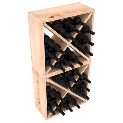 Karnes Pine Rustic Cube 48 Bottle Floor Wine Rack Finish: Natural