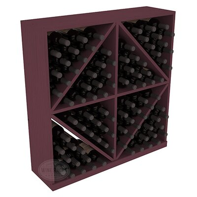 Karnes Pine Diamond Storage 96 Bottle Floor Wine Rack Finish: Burgundy
