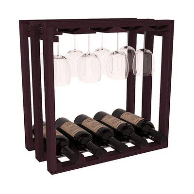 Karnes Redwood Lattice Stemware Cube 10 Bottle Tabletop Wine Rack Finish: Burgundy