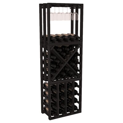 Karnes Redwood Lattice Stacking Cube 45 Bottle Floor Wine Rack Finish: Black
