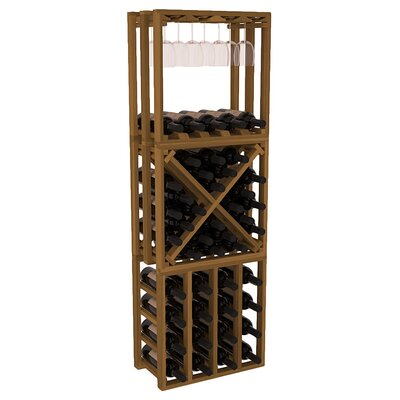 Karnes Redwood Lattice Stacking Cube 45 Bottle Floor Wine Rack Finish: Oak