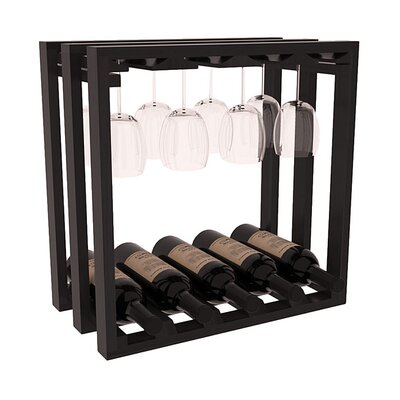 Karnes Redwood Lattice Stemware Cube 10 Bottle Tabletop Wine Rack Finish: Black Satin