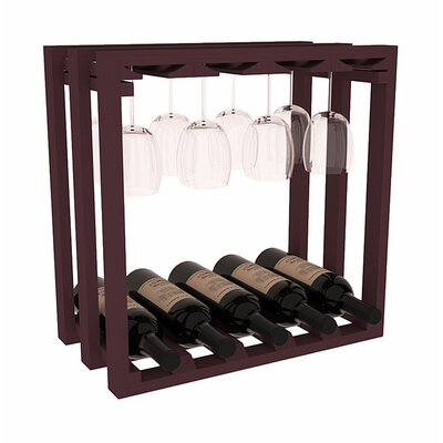 Karnes Pine Lattice Stemware Cube 10 Bottle Tabletop Wine Rack Finish: Burgundy