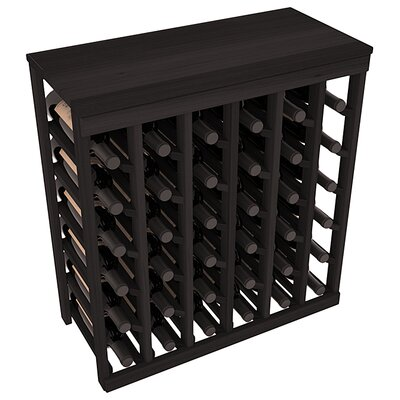 Karnes Redwood Table Top 36 Bottle Floor Wine Rack Finish: Black