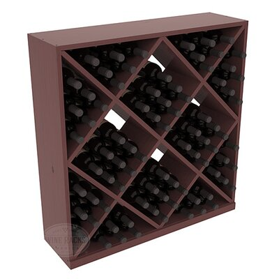 Karnes Pine Diamond Cube 82 Bottle Floor Wine Rack Finish: Walnut Satin