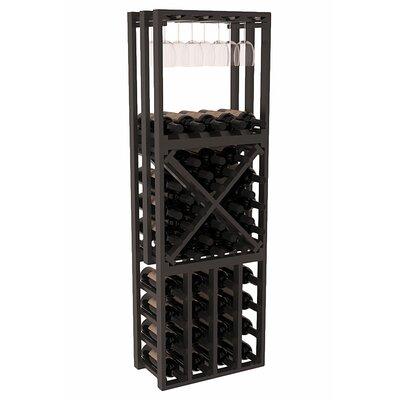 Karnes Pine Lattice Stacking Cube 45 Bottle Floor Wine Rack Finish: Black Satin