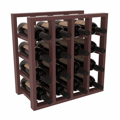 Karnes Pine Lattice 16 Bottle Tabletop Wine Rack Finish: Walnut Satin