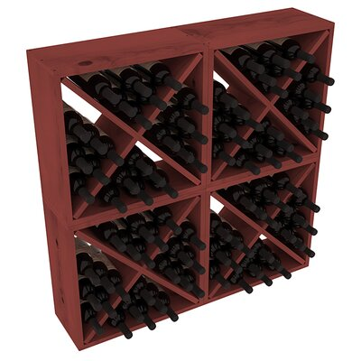 Karnes Pine Rustic Cube 96 Bottle Floor Wine Rack Finish: Cherry