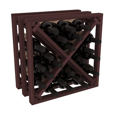 Karnes Redwood Lattice X-Cube 24 Bottle Tabletop Wine Rack Finish: Walnut