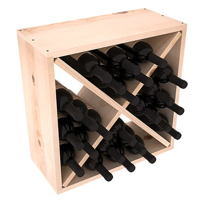 Karnes Pine Rustic Cube 24 Bottle Tabletop Wine Rack Finish: Natural Satin
