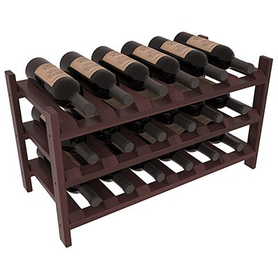 Karnes Redwood Stackable 18 Bottle Tabletop Wine Rack Finish: Walnut Satin