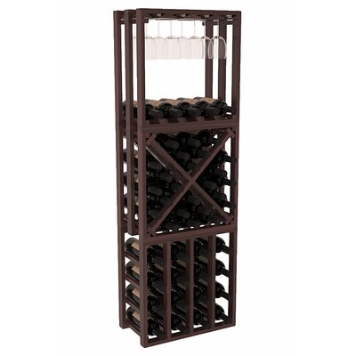Karnes Redwood Lattice Stacking Cube 45 Bottle Floor Wine Rack Finish: Walnut Satin