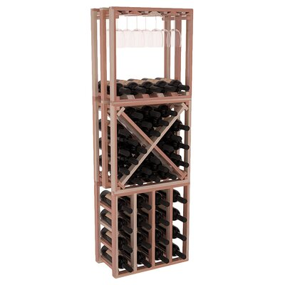 Karnes Redwood Lattice Stacking Cube 45 Bottle Floor Wine Rack Finish: Natural Satin