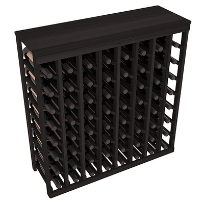 Karnes Redwood Table Top 64 Bottle Floor Wine Rack Finish: Black