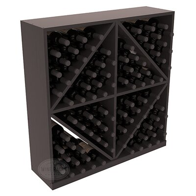 Karnes Pine Diamond Storage 96 Bottle Floor Wine Rack Finish: Black Satin