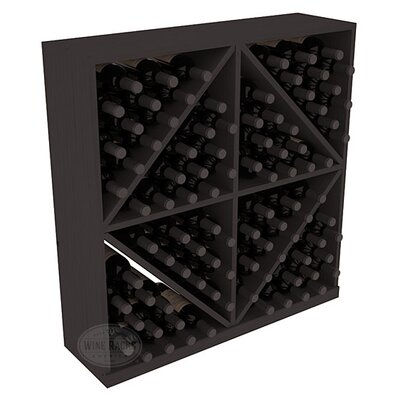 Karnes Pine Diamond Storage 96 Bottle Floor Wine Rack Finish: Black