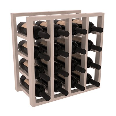 Karnes Pine Lattice 16 Bottle Tabletop Wine Rack Finish: Gray Satin