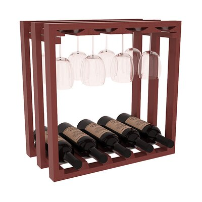 Karnes Pine Lattice Stemware Cube 10 Bottle Tabletop Wine Rack Finish: Cherry Satin