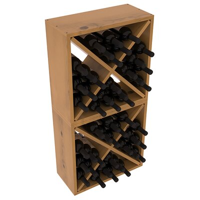 Karnes Pine Rustic Cube 48 Bottle Floor Wine Rack Finish: Oak Satin