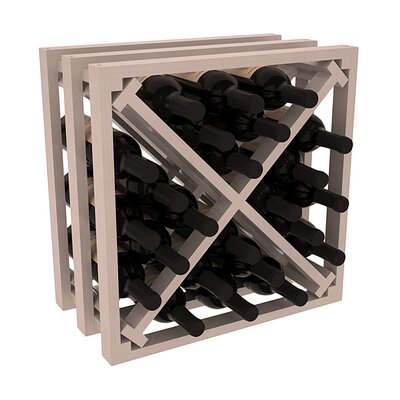 Karnes Pine Lattice X-Cube 24 Bottle Tabletop Wine Rack Finish: Gray Satin