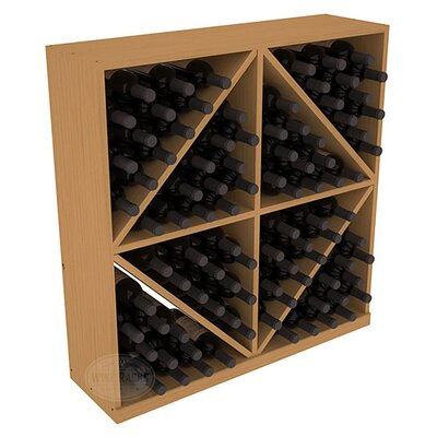 Karnes Pine Diamond Storage 96 Bottle Floor Wine Rack Finish: Oak