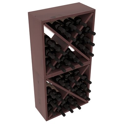 Karnes Pine Rustic Cube 48 Bottle Floor Wine Rack Finish: Walnut Satin