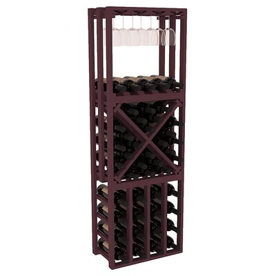 Karnes Pine Lattice Stacking Cube 45 Bottle Floor Wine Rack Finish: Burgundy