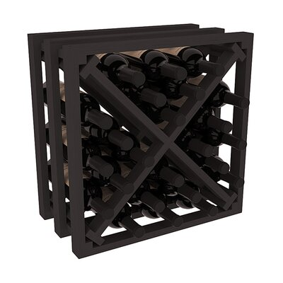 Karnes Pine Lattice X-Cube 24 Bottle Tabletop Wine Rack Finish: Black