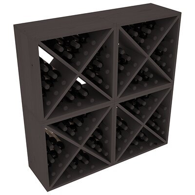 Karnes Pine X-Cube 96 Bottle Floor Wine Rack Finish: Black