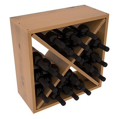 Karnes Pine Rustic Cube 24 Bottle Tabletop Wine Rack Finish: Oak Satin