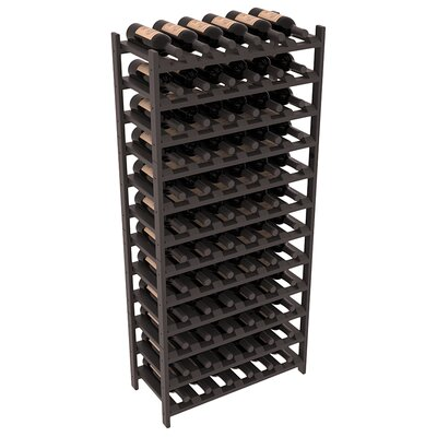 Karnes Pine Stackable 72 Bottle Floor Wine Rack Finish: Black Satin