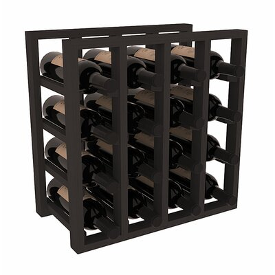 Karnes Pine Lattice 16 Bottle Tabletop Wine Rack Finish: Black