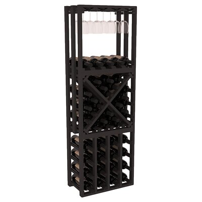 Karnes Pine Lattice Stacking Cube 45 Bottle Floor Wine Rack Finish: Black