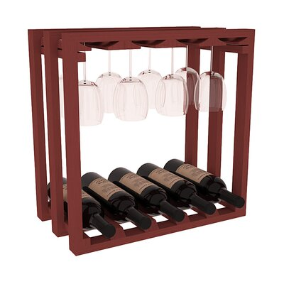 Karnes Pine Lattice Stemware Cube 10 Bottle Tabletop Wine Rack Finish: Cherry