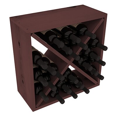 Karnes Pine Rustic Cube 24 Bottle Tabletop Wine Rack Finish: Walnut