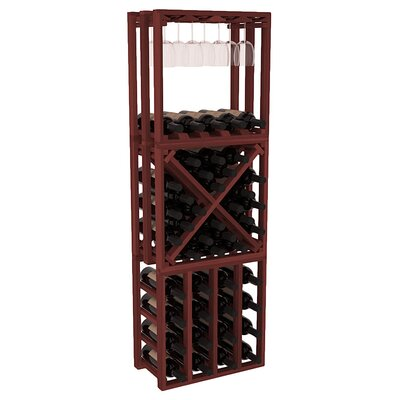 Karnes Redwood Lattice Stacking Cube 45 Bottle Floor Wine Rack Finish: Cherry